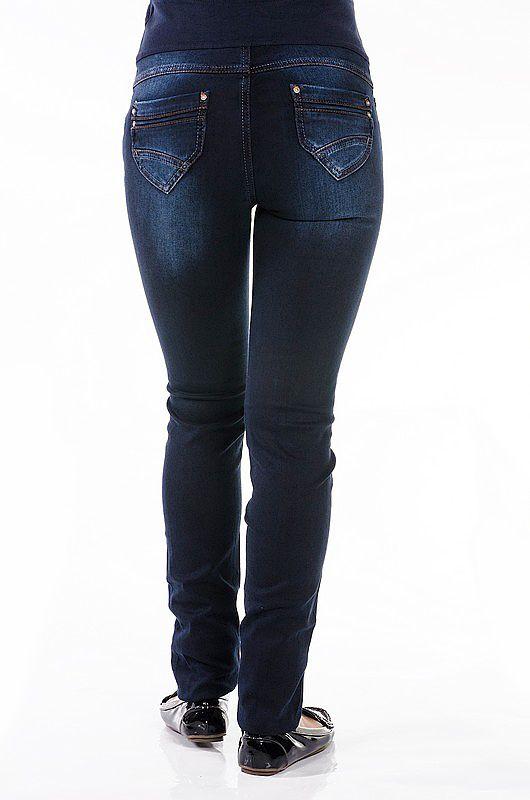 Темно-синие джинсы для беременных с широкой трикотажной вставкой.