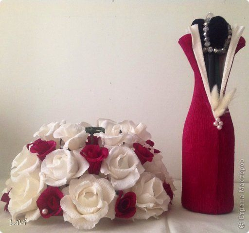 Свит-дизайн 8 марта Свадьба Бумагопластика Бутылочка на праздник Бумага гофрированная фото 4