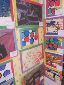 This is a great and colorful way to display the childrens' artwork on the walls of a classroom.