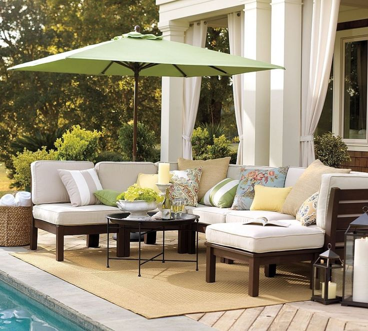 Furniture  Surprising Patio Chair Cushions In White Colors With Green Fabric  Umbrella Beside Swimming Pool. 15 best images about patio furniture reupholstering on Pinterest