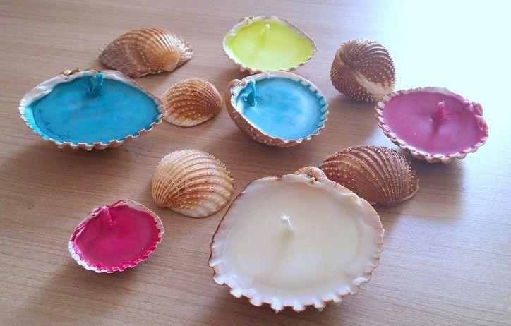 Des coquillages transformés en bougies colorées