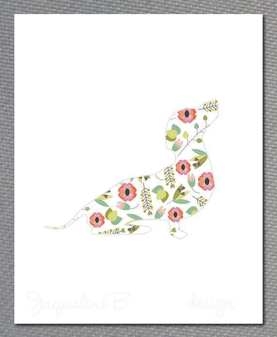 Dachshund poster Flower Design by JAQUELINEB on Etsy, $20.00