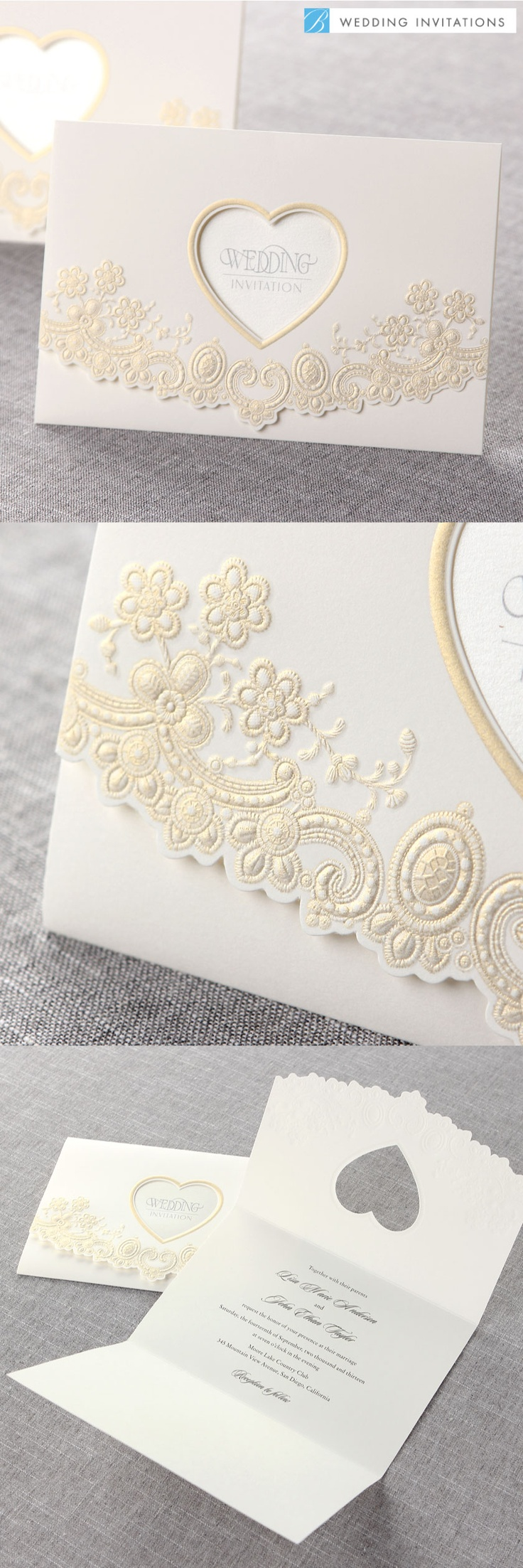 Embossed Floral Garden by B Wedding Invitations