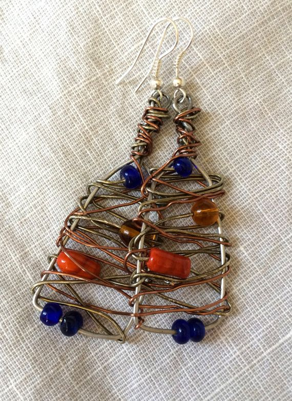 Wire wrapped dangle earrings with blue and by RainasTextileHouse, $36.00