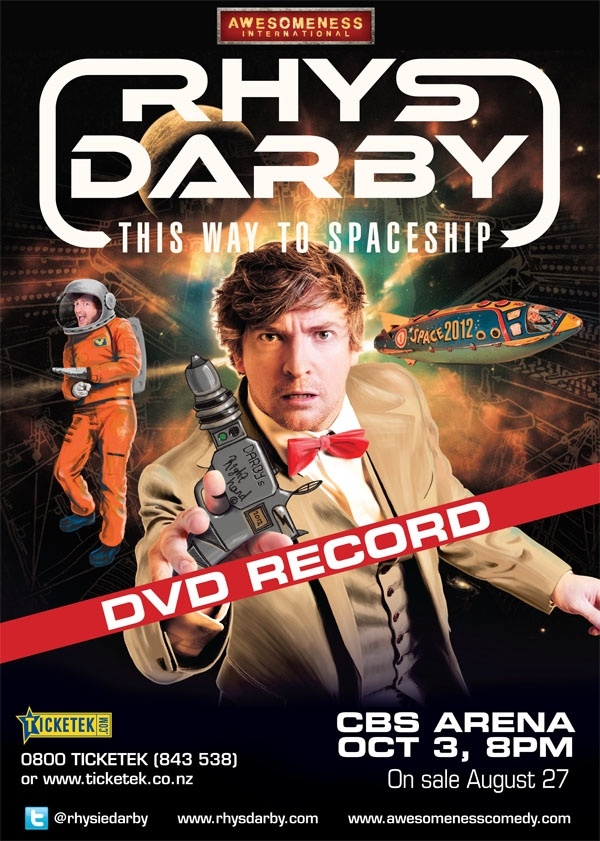 Rhys Darby sporting a MisteR suit on his tour poster.