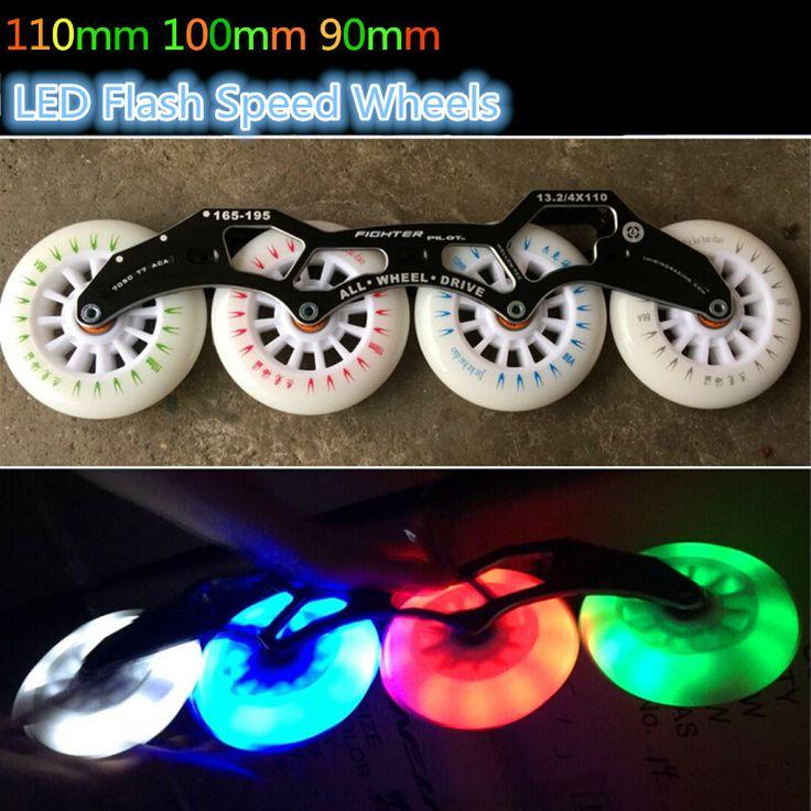 2 Branded Unids/lote JKHD 110mm 100mm 90mm Flash LED Rueda de Patinaje de Velocidad de Carreras de Velocidad En Línea para La Calle cepillado Luz Fría