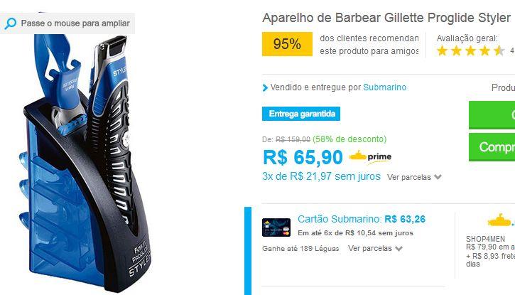 Aparelho de Barbear Gillette Proglide Styler << R$ 6590 em 3 vezes >>