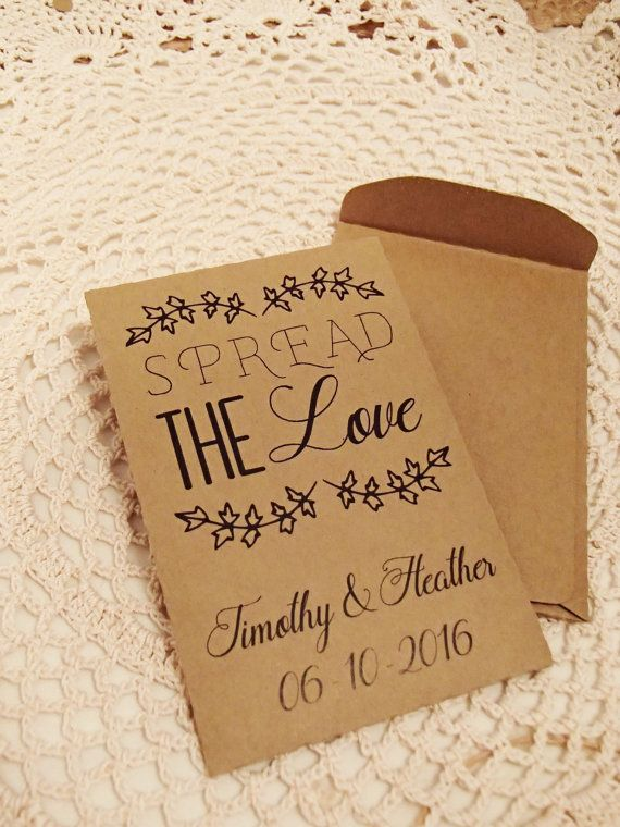 20 Custom Seed Packet Wedding Favor Spread The By Thepaperstash