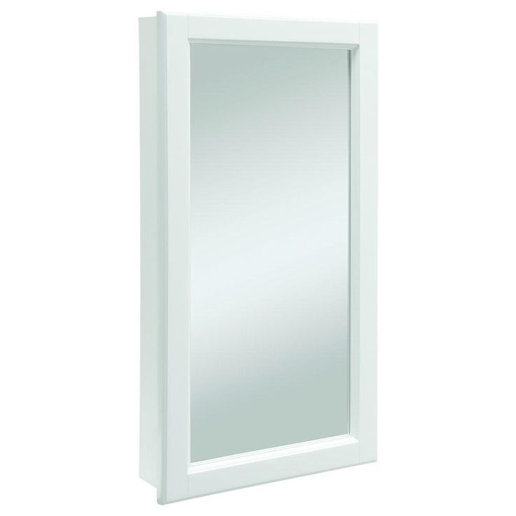 Design House Wyndham 16 in. W Single Door Mirrored Medicine Cabinet in White Semi-Gloss-545111 - The Home Depot