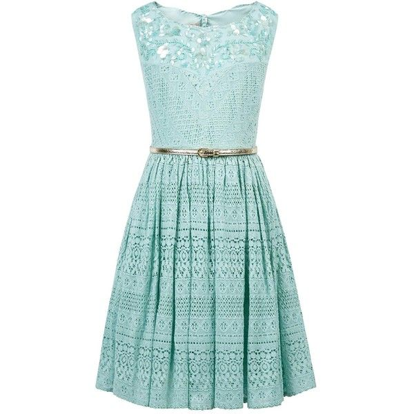 Monsoon Storm Isla Dress ($80) ❤ liked on Polyvore featuring dresses, metallic cocktail dress, cut out dresses, cutout dresses, scalloped dress and green dress