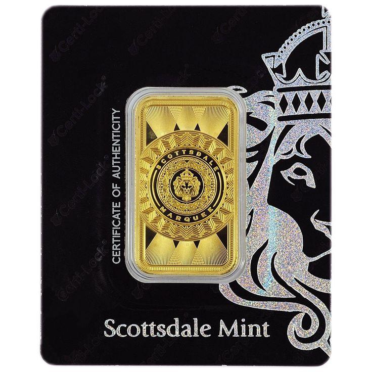 1 Troy Oz Scottsdale Marquee Gold Bar Certi Lock 9999