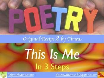 DIGITAL RESOURCE. This is the second in a series of full colour PDFs for poetry motivation, created by a teacher for other busy teachers. Great for the start of the school year and exploring synonyms. It takes teacher and students through 3 easy steps for effective poetry writing, for this format.