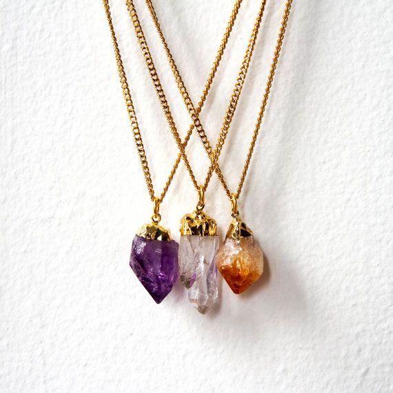 Raw Crystal Necklace, Amethyst Quartz Citrine Crystals on Etsy, $44.00
