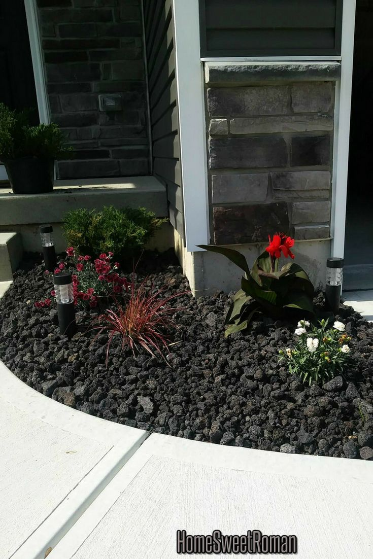 Easy Flower Bed Idea With Perennial Flowers And Black Lava