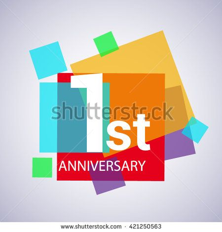 1st anniversary logo, 1 years anniversary colorful vector design. geometric background. - stock vector