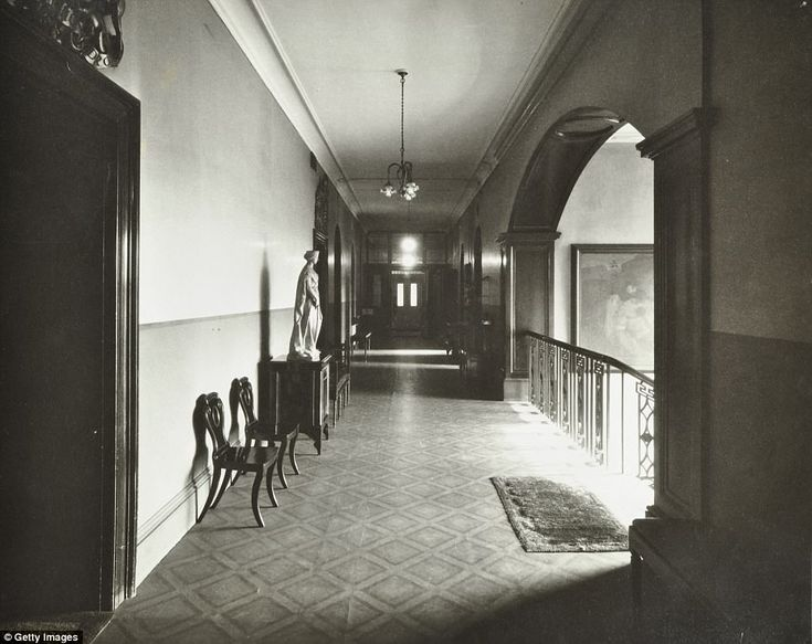 This was the first floor corridor at the Bethlem Royal Hospital in 1926 when it was located at St George's Fields in Southwark, south London. The hospital was infamous for its bizarre 'treatments' it gave its patients