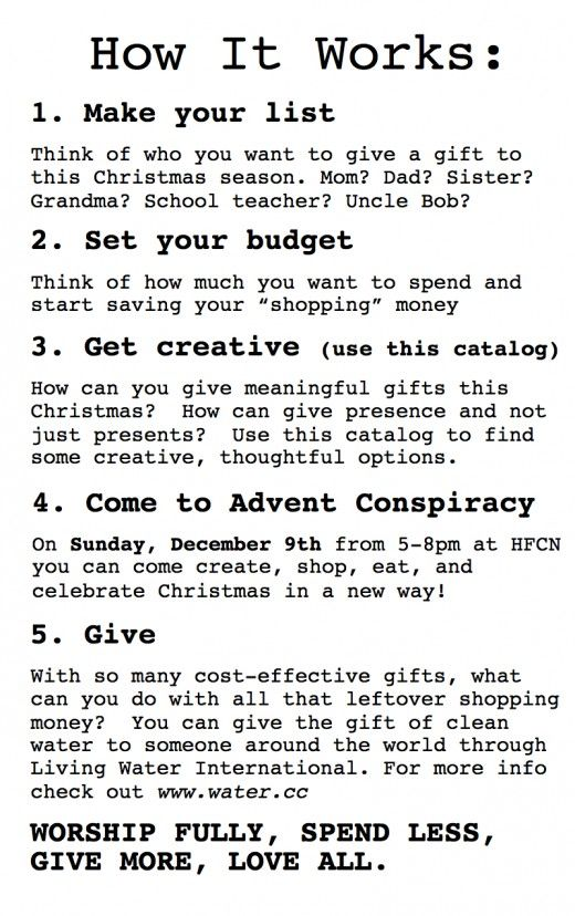 How to Plan Your Own Advent Conspiracy Event via MERCY iNK
