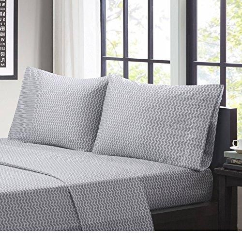 Grey Chevron Stripes Pattern Sheets King Set Modern Bedrooms Zigzag Horizontal Stripes Inspired Design Fully Elasticized Fitted Wrinkle Free Vibrant