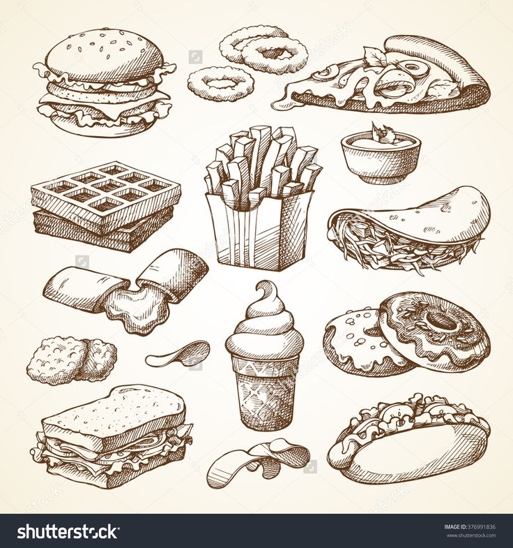 Set With Fast Food Illustration. Sketch Vector Illustration. Fast Food Restaurant, Fast Food Menu. Hamburger, Hot Dog, Sandwich, Snacks, Waffles, Pizza, French Fries, Ice Cream, Donuts, Burger, Sauce - 376991836 : Shutterstock
