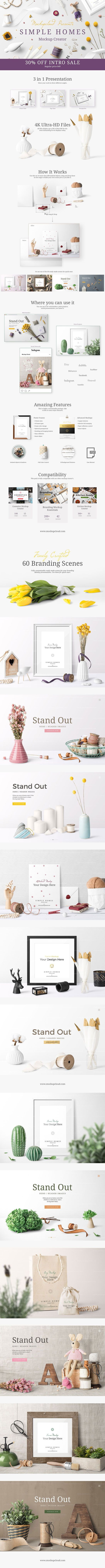 Simple Homes Mockup Creator : Create premium quality images to showcase your poster frame presentations, #website headers, #Etsy, #Instagram, #Facebook or Behance projects by just dragging and dropping items in #Photoshop. #Presentation never looked so perfect.