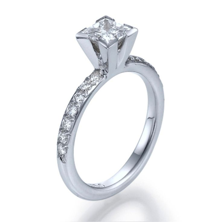 New to shireeodiz on Etsy: Unique Engagement Ring 14K White Gold Ring Size 5.5 1.29 TCW Diamond Ring Frosted Princess Collection (1450.00 USD)