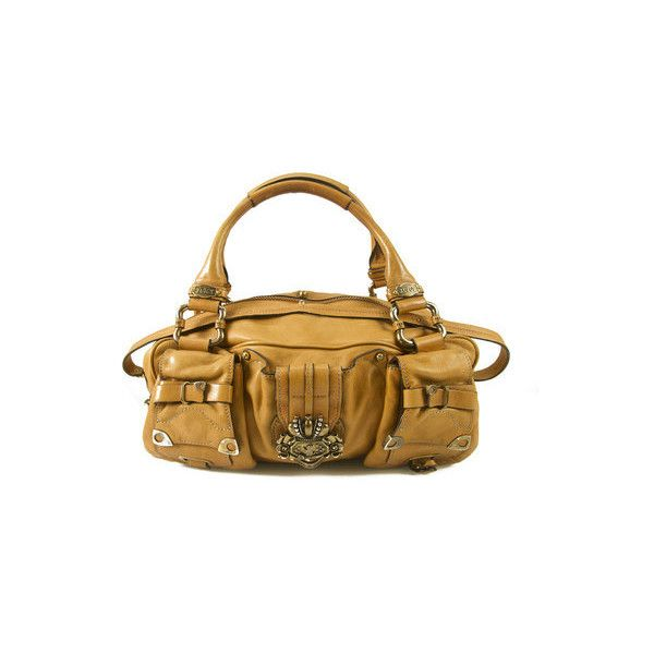 Juicy Couture Tan Leather Front Pockets Broach Satchel Grab Bag... via Polyvore featuring bags, handbags, leather handbags, tan leather purse, leather hand bags, tan leather handbags and juicy couture handbags