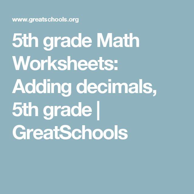 Adding decimals worksheet 5th grade