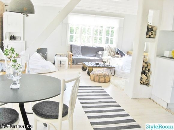 vardagsrum,allrum,matrum,bord,habitat,svart,randig matta,vedförvaring,marockansk puff,brun,läder,soffa,grå,bord. lastpall,trä