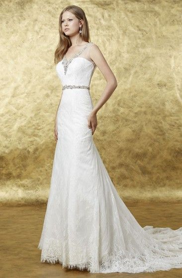 aab8480c77 A-Line Beaded Floor-Length V-Neck Sleeveless Lace Wedding Dress With Low-V  Back And Waist Jewellery