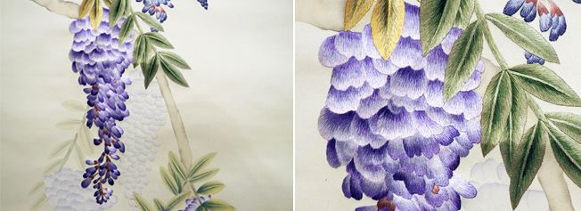 "Misha handmadewallpaper ""Wisteria"" embroidered by hand on silk wallpaper. Embroideries Collection."