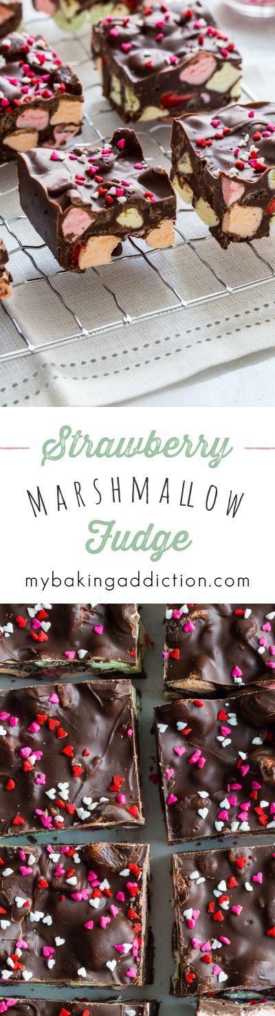 Strawberry Marshmallow Fudge from My Baking Addiction