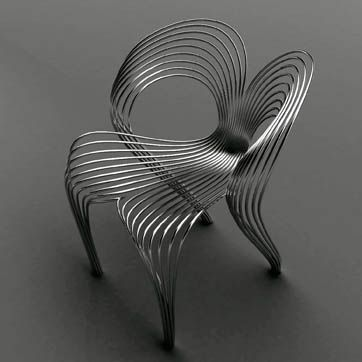 Love the lines & shape!....Stainless Steel Wire Chair - Ron Arad: Arad claims it is supportive and has a comfortable bounce.