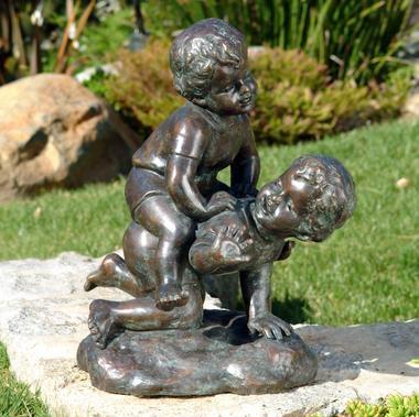 Piggyback Children Bronze Garden Statue