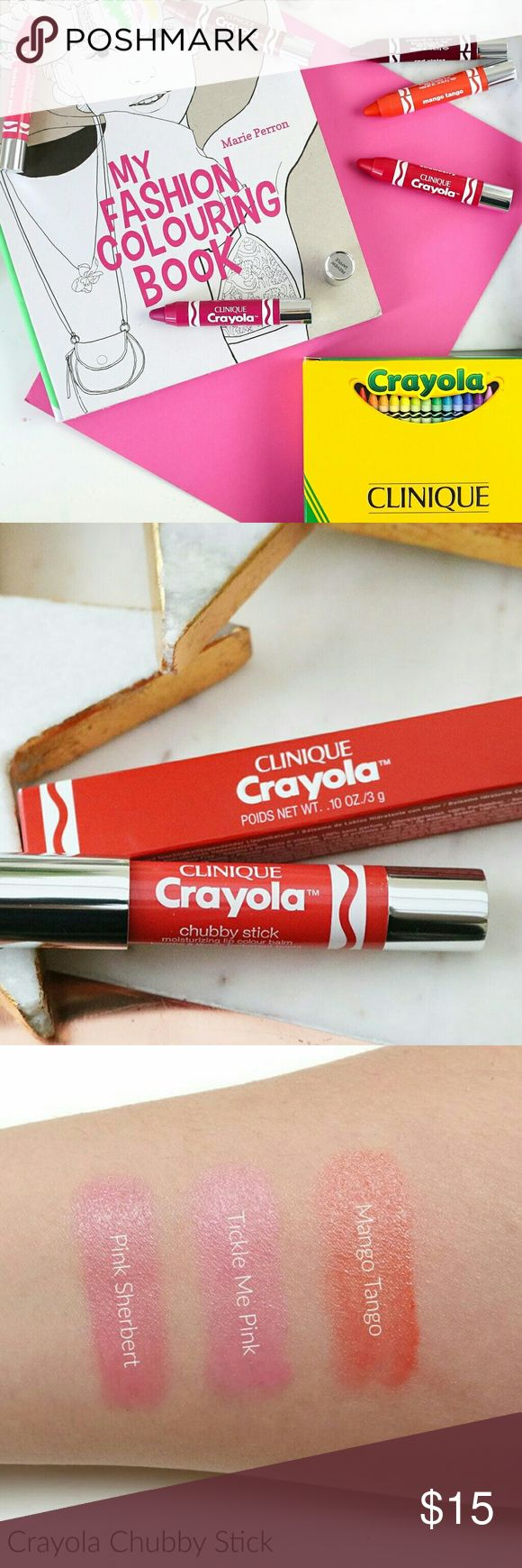 Clinique Lipcolour • crayola edition Clinique and Crayola™ crayons play together on a limited-edition collection of Chubby Stick™ For Lips. All skin types. Get vibrant, nourishing color with Clinique Crayola™ Chubby Sticks–loaded with mango and shea butters so lips feel comfortably soft and smooth. Limited edition, in shades sheer to intense.  Shade Mango tango.  Benefits These products are allergy tested and 100% fragrance free.  Condition  New. Clinique Makeup Lipstick