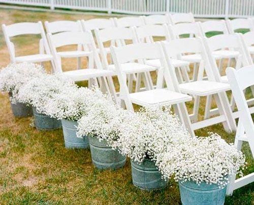 Babys Breath Wedding Aisle Decor Maybe Not As Aisle Decor But Like The Buckets