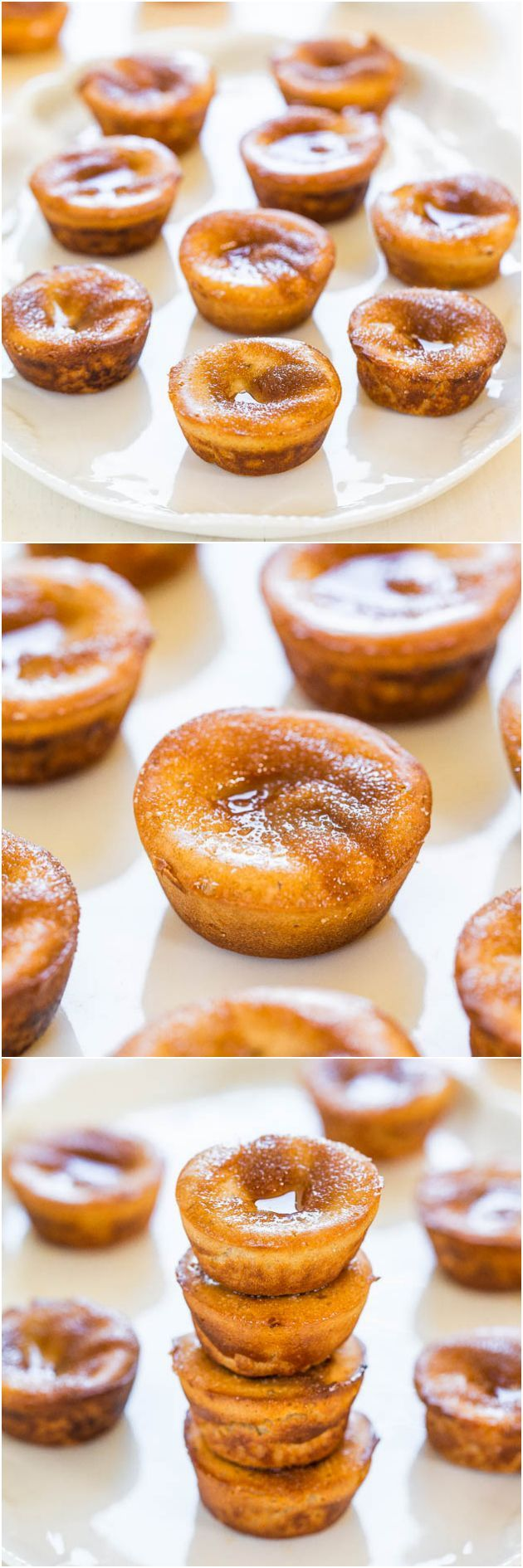 Easy convert to thermomix - Mini Cinnamon Sugar Popovers - They taste like mini donuts and the blender batter is the easiest ever! No popover pan required!