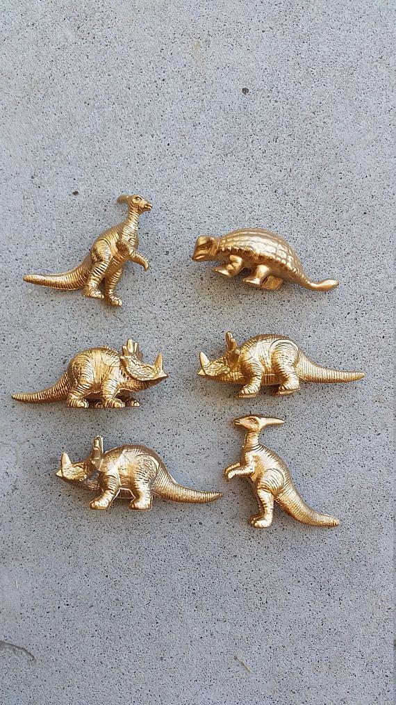 Mini Gold Dinosaur Favors, 12 Chic Gold Dinosaur Place Settings, Dinosaur Theme Party Decorations