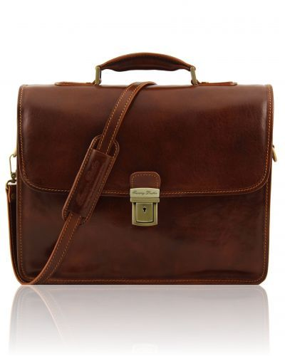 VERNAZZA TL141096 Leather briefcase with Laptop compartment 3 compartments