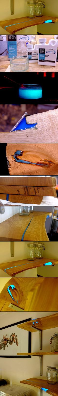 Artist Matt Brown used epoxy to fix the gaps in the wood for his shelves. I love Surfing and carving wood. This makes sense to me, beautifully done.