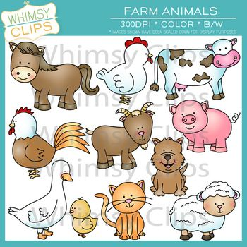 The farm animals clip art pack contains 22 image files, which includes 11 color images and 11 black & white images in both png and jpg formats. All images are 300dpi for better scaling and printing. $