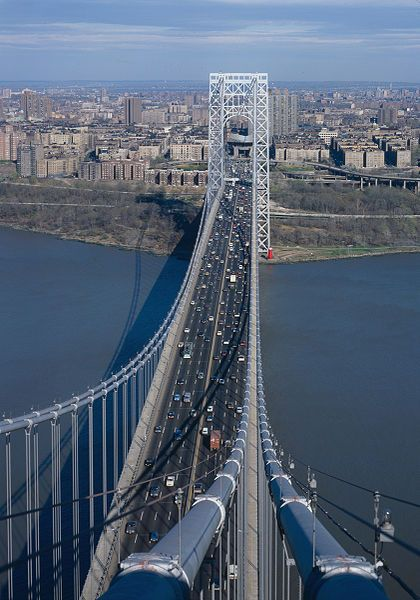 The George Washington Bridge (known informally as the GW Bridge, the GWB, the GW, or the George) is a suspension bridge spanning the Hudson River, connecting the Washington Heights neighborhood in the borough of Manhattan in New York City to Fort Lee, Bergen County, New Jersey, New York, USA.