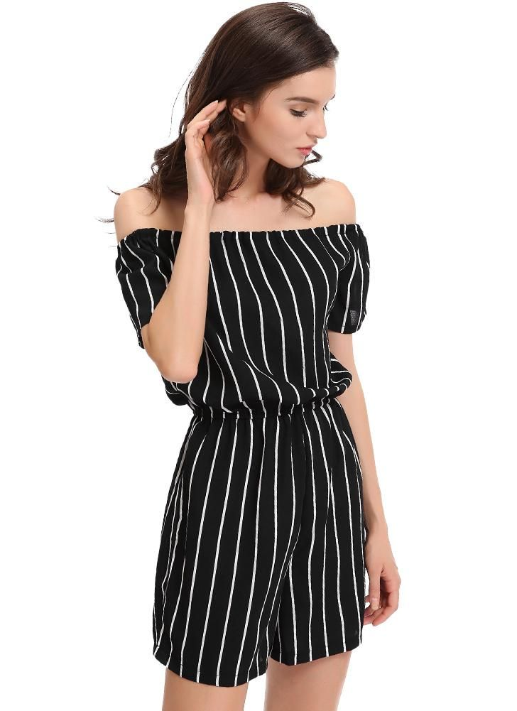 Cheap Sexy Off Shoulder Black White Stripe Jumpsuit for Sale - Chicuu.com