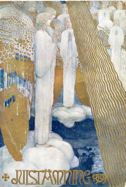 Julstämning, A Spirit of Christmas, by John Bauer, 1909. Published by Gothenburg Åhlèn & Åkerlunds | Nordic Thoughts blog
