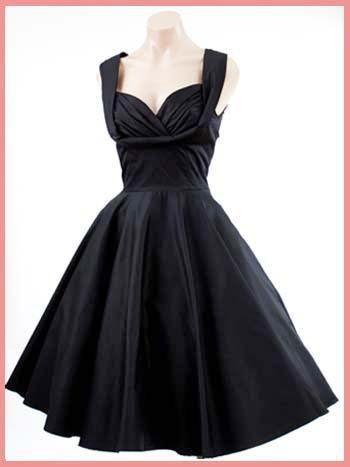 50's hollywood glam dresses   ... Diva Black 50's Inspired Honey Swing Dress-Retro Little Black Dresses