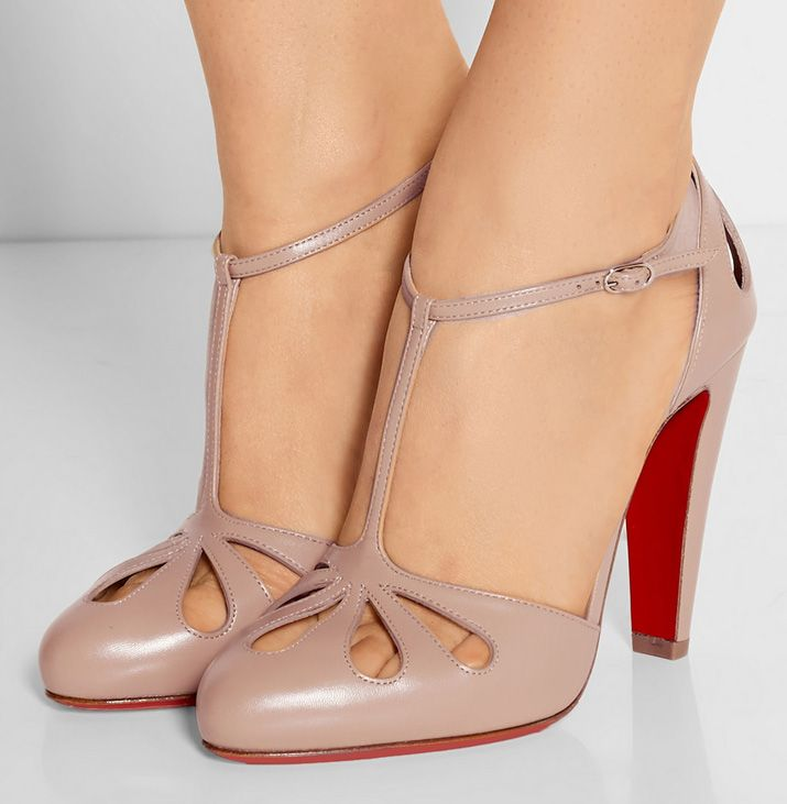 Christian Louboutin 'Amyada' 100 leather T-bar pumps. It's not often you come across a pair of Louboutins with such a sturdy looking heel. I dig it!