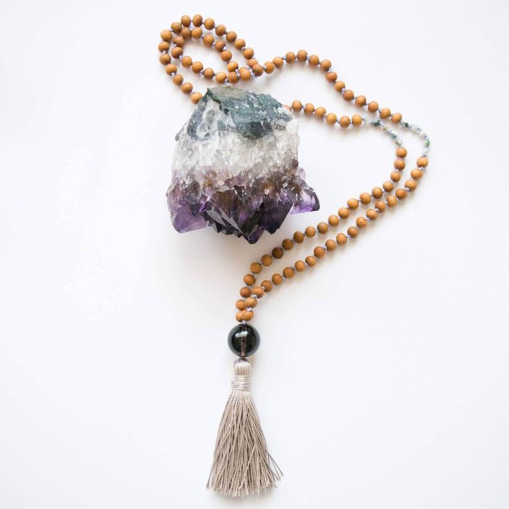 Excited to share this addition to my #etsy shop: Gemstone Mala Necklace - Mala Beads, Yoga Gemstone Necklace, Intentional Crystal Necklace, Mantra Gemstone Necklace, Tassel Necklace