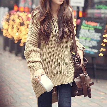 Oversize Leisure High-low Hemline Pure Color Knit Sweater