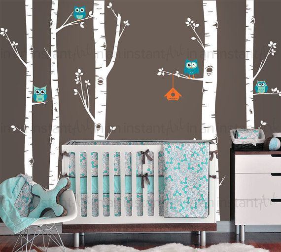 Birch Tree Wall Decal | Best Seller - 5 Birch Trees and Owls | Woodland Baby…