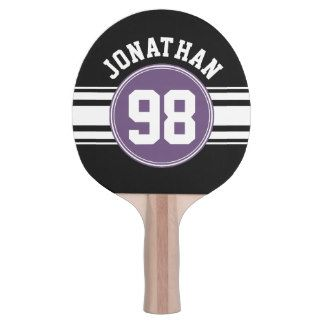 Sports Jersey Black and Purple Stripes Name Number Ping-Pong Paddle