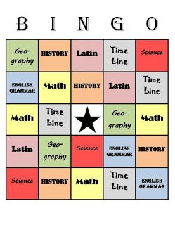 CC bingo review game!  :)  3 from the DRC: Classical Conversations Cycle 1 Week 5 Memory Work